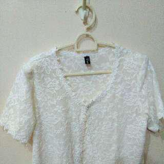 NEW Long Outer White Brukat Cardigan Brocade Lace