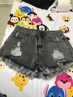 Black denim shorts - brand new - size M -