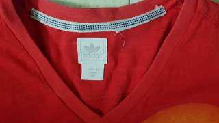 Adidas V-neck red Tee - Medium