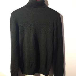 Club Monaco Black Turtleneck Wool Sweater - Small