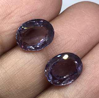 🚚 6 cts Czochralski Color Changing Alexandrite Oval Lab Treated Pair 10 x 8 mm
