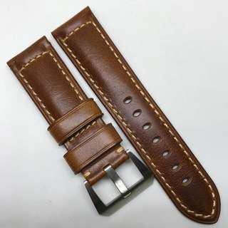 Premium Grade 24mm Watch Strap Brown Colour Genuine Leather
