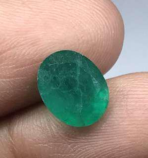 🚚 2.82 cts Columbian green emerald oval 8 x 10 mm Lab Treated Loose Gem