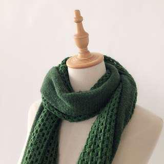 二手|墨綠針織圍巾
