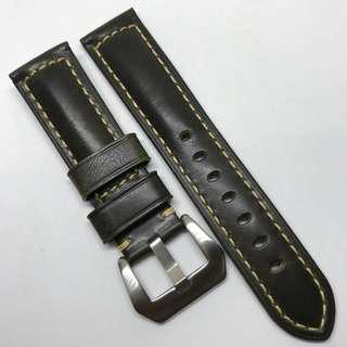 Premium Grade 22mm Watch Strap Olive Green Colour Genuine Leather