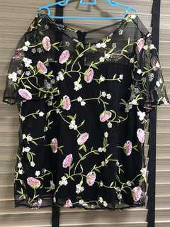 Floral Print Black Top