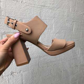 Beige nude block heeled sandals by Siren