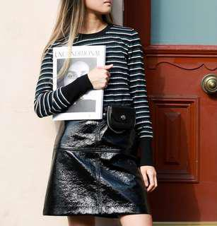 Cue Patent Leather A-Line Skirt in Black - Size 8