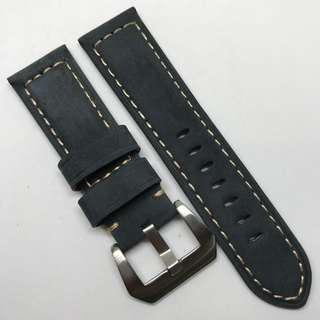 Premium Grade 24mm Watch Strap Navy Blue Colour Genuine Suede Leather