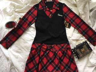 🚚 Olive Oyl 紅格紋學院風連身裙