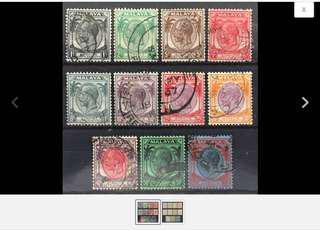 Malaya 1936-37 Straits Settlement KGV 11V Used MSCA M1634 Z