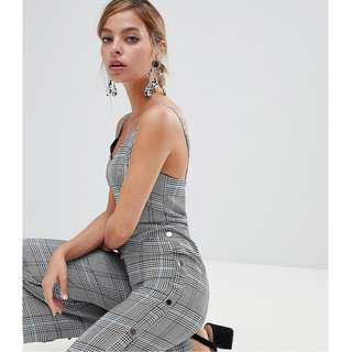 🚚 River Island Petite Jumpsuit with Popper Side in Check