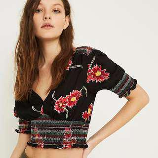 🚚 Urban Outfitters Black Floral Smocked Tea Blouse