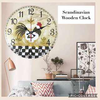 Scandinavian Handcrafted Wooden Clock