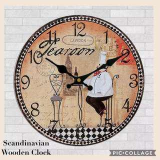 Scandinavian Wooden Clock - Chef Design