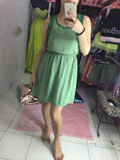 Green polka dots dress new with tag