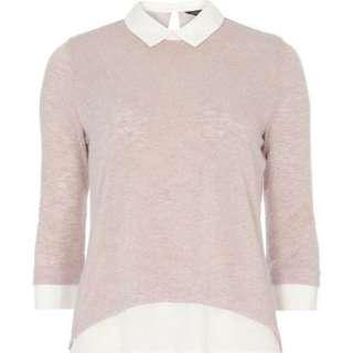 ✨Authentic✨ Dorothy Perkins Pink White Light Knit Sweater Blouse Shirt Top Size US 4 / UK 8