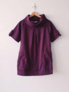 Rolled Neck Faux Button Autumn Tunic (Royal Purple) | Made in Taiwan