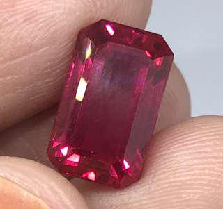 🚚 7.20 cts Red Ruby Octagon 7.9 x 12.7 mm Lab Treated Loose Gem