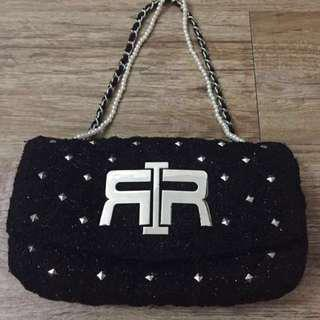 ✨Authentic✨ River Island Black Glitter Tweed Studded Bag With Pearl Chanel Inspired Chain