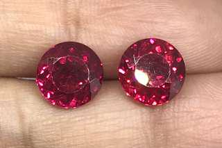 🚚 5.75 cts Red Ruby Round Pair Lab Treated 8.5 mm Loose Gem