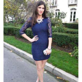 Zara Inspired Navy Blue Lace Dress Size S (Fits UK 6)