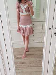 Alice Mccall pink ruffle set (top+skirt)
