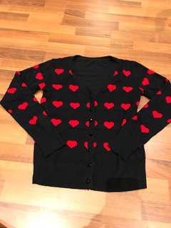 Hearts print cardigan