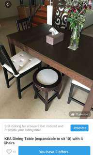 IKEA dining table expandable can sit up to 12 with 4 chairs