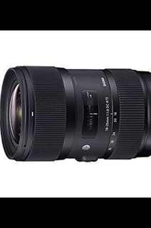 Sigma 18-35mm f1.8 lens - Canon Mount