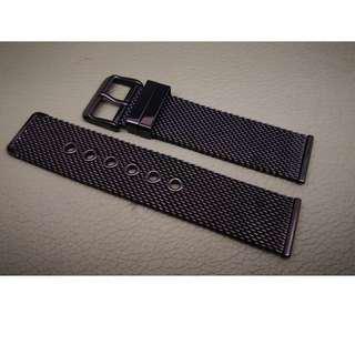 20mm錶帶 22mm錶帶 304L不鏽鋼 編織網 鋼錶帶 合用: ROLEX TUDOR IWC OMEGA (ref:20222黑色編織鋼)