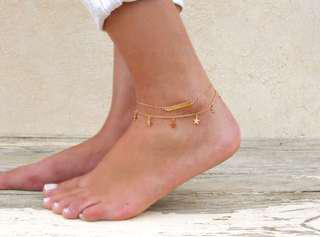 Boho style gold and silver stars anklets , Free Postage