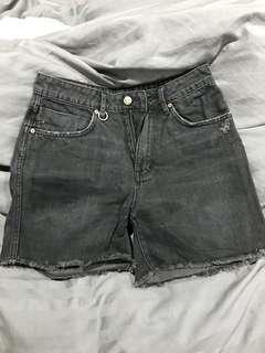 Black mid waist denim shorts