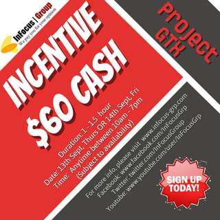 Looking for 1-to-1 survey participants - Incentive $60 cash