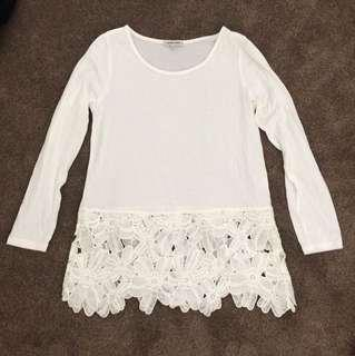 White Longsleeve with Lace Detail