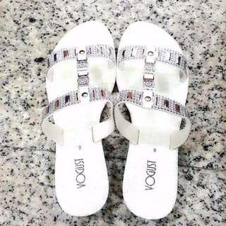 Brand New Women White Shiny Sandals
