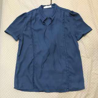 (Brand New) Cut-Out Blouse (Warna: Biru Jeans)