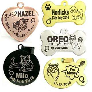 Deep Engraved Customized Designer Pet ID Tag For Dogs & Cats