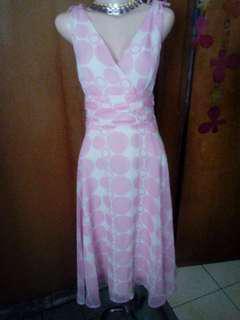 vintage polkadot midi dress pink