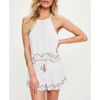 837c6bf1455 authentic missguided white flowy mirror trim boho two piece drawstring  shorts cami halter top set