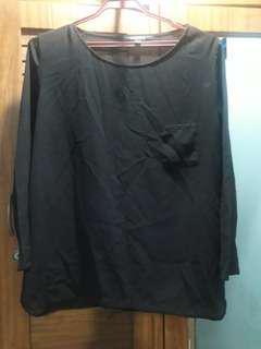 Large black sheer blouse