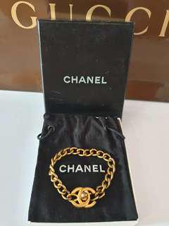✅Authentic CHANEL CC Classic Vintage Gold Chain Bracelet