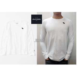 美國帶回A&F真品Abercrombie&Fitch long-sleeve textured icon tee麋鹿T白