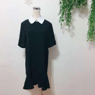 🚚 全新,造型領設計顯瘦雪紡荷葉洋裝,黑