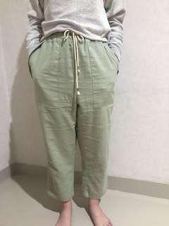 Et Cetera Green Linen Pants Hijau