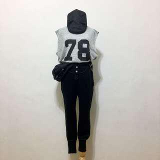 🚚 全新,韓製,超顯瘦時尚車線造型棉質束口褲,黑