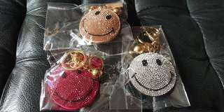 Bling Bling Smiley face key chain for handbags