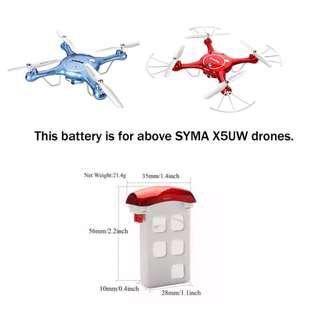 SYMA X5UW 3.7V 500mAh Rechargeable LiPo Battery, Red. Code: SYMA-X5UW-RB