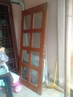 Pintu Office kayu solid 8 cermin