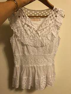 Tory Burch white sleeveless lace top